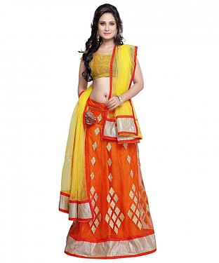BEST COLLECTION  NET  DESIGNER LEHENGA @ Rs717.00