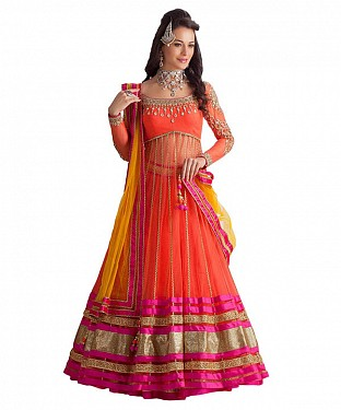 ORANGE HEAVY   DESIGNER  LEHENGA @ Rs730.00