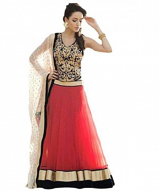 BEST COLLECTION DESIGNER RED NET LEGENGA@ Rs.1039.00