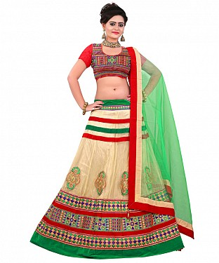 AWESOME Cream  COLLECTION LEHENGA@ Rs.1657.00