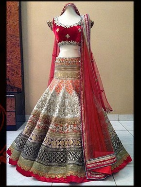 velvetred Colour Bridal Lehenga Choli @ Rs1978.00