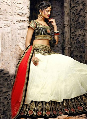 White Plain Designer Lehenga Choli With Embroidered Work @ Rs989.00