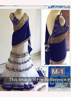 Buy Online Royal Blue & White Designer Lehenga Choli @ Rs1484.00