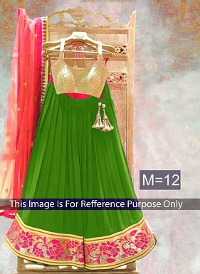 Green & Peach Designer Georgette Lehenga Choli@ Rs.803.00