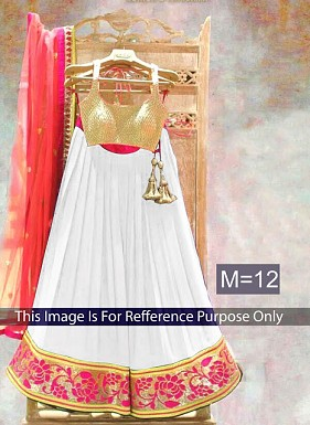White & Peach Designer Georgette Lehenga Choli @ Rs803.00