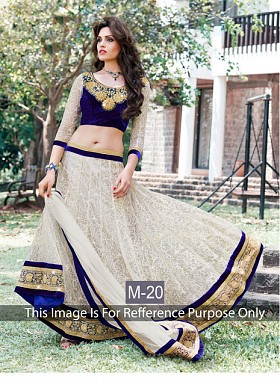 Off White And Blue Printed Bridal Lehenga Choli @ Rs1360.00