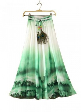 Green and White Faux Geogette Digital Printed Exclusive Skirt For Women's @ Rs988.00