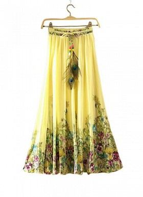 Yellow Faux Geogette Digital Printed Exclusive Skirt For Women's @ Rs988.00