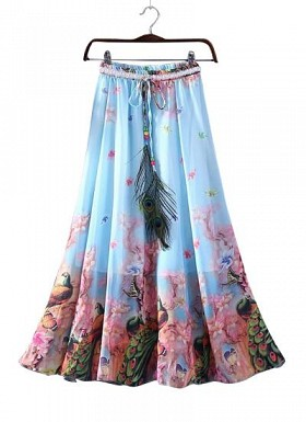 Blue and Pink Faux Geogette Digital Printed Exclusive Skirt For Women's@ Rs.988.00