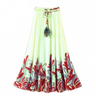 White and Red Faux Geogette Digital Printed Exclusive Skirt For Women's@ Rs.988.00