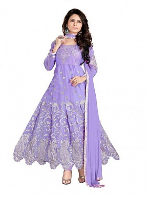 Embroidered Purple Salwar Suits Dress Material@ Rs.989.00