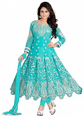 Embroidered Terquoise Salwar Suits Dress Material@ Rs.1014.00