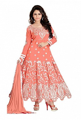 Embroidered Orange Salwar Suits Dress Material @ Rs1014.00