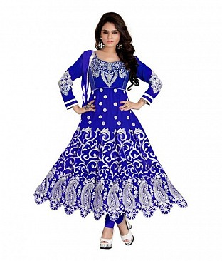 Embroidered Navy Blue Salwar Suits Dress Material @ Rs1014.00