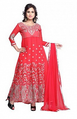 Embroidered Red Salwar Suits Dress Material @ Rs897.00