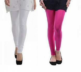 Cotton White and Pink Color Leggings Combo@ Rs.407.00