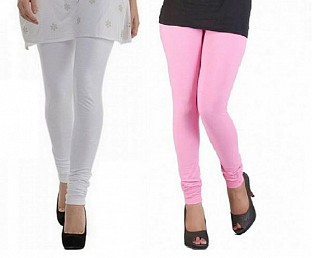 Cotton White and Light Pink Color Leggings Combo@ Rs.407.00