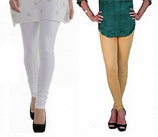 Cotton White and Biege  Color Leggings Combo @ Rs407.00