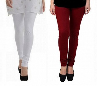 Cotton White and Brown Color Leggings Combo @ Rs407.00