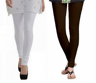 Cotton White and Dark Brown Color Leggings Combo @ Rs407.00