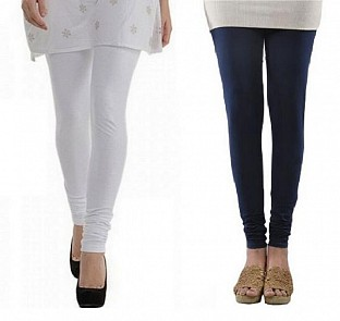 Cotton White and Dark Blue Color Leggings Combo@ Rs.407.00