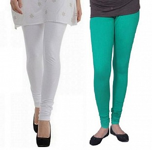 Cotton White and Rama Green Color Leggings Combo @ Rs407.00