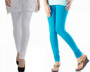 Cotton White And Sky Blue Color Leggings Combo@ Rs.407.00