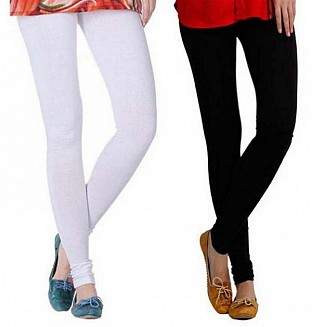 Cotton White and Black Color Leggings Combo@ Rs.407.00