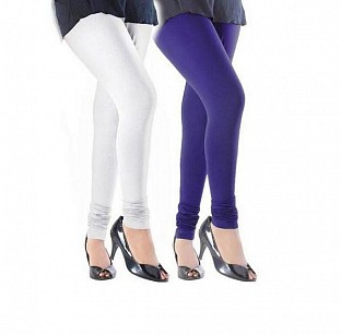 Cotton White and Royal Blue Color Leggings Combo@ Rs.407.00