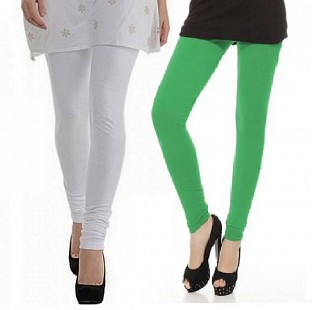 Cotton White and Green Color Leggings Combo@ Rs.407.00