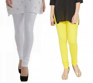 Cotton White and Light Yellow Color Leggings Combo@ Rs.407.00