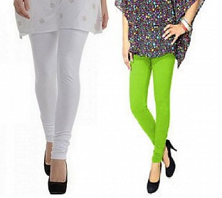 Cotton White and Parrot Green Color Leggings Combo @ Rs407.00