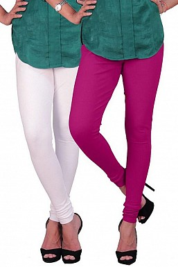 Cotton White and Dark Pink Color Leggings Combo@ Rs.407.00