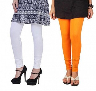 Cotton White and Orange Color Leggings Combo @ Rs407.00