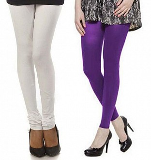 Cotton White and Purple Color Leggings Combo @ Rs407.00
