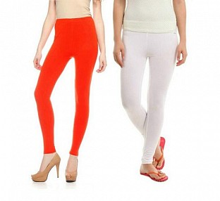 Cotton White and Dark Orange Color Leggings Combo @ Rs407.00