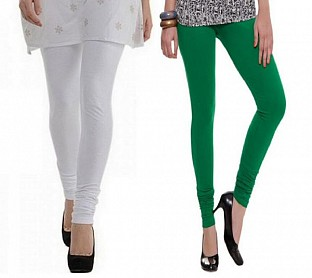 Cotton White and Dark Green Color Leggings Combo @ Rs407.00