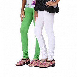Cotton White and Light Green Color Leggings Combo@ Rs.407.00