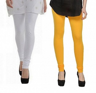 Cotton White and Yellow Color Leggings Combo @ Rs407.00