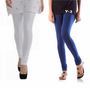 Cotton White and Blue Color Leggings Combo @ Rs407.00