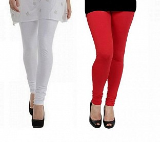 Cotton White and Red Color Leggings Combo @ Rs407.00
