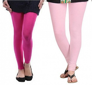 Cotton Pink and Light Pink Color Leggings Combo @ Rs407.00