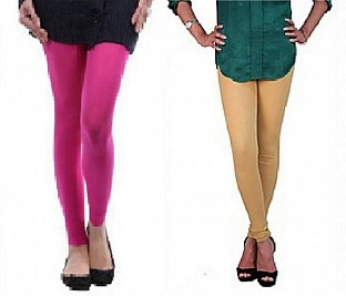 Cotton Pink and Biege Color Leggings Combo @ Rs407.00