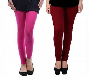 Cotton Pink and Brown Color Leggings Combo @ Rs407.00