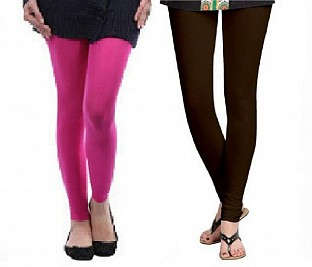 Cotton Pink and Dark Brown Color Leggings Combo @ Rs407.00