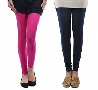Cotton Pink and Dark Blue Color Leggings Combo @ Rs407.00