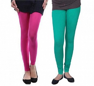 Cotton Pink and Rama Green Color Leggings Combo @ Rs407.00