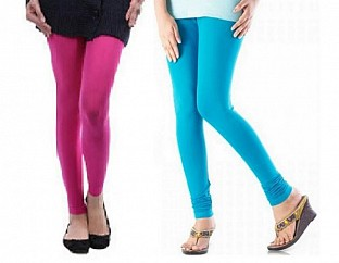 Cotton Pink and Sky Blue Color Leggings Combo @ Rs407.00