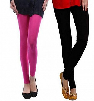 Cotton Light Pink and Black Color Leggings Combo @ Rs407.00