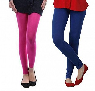 Cotton Pink and Royal Blue Color Leggings Combo @ Rs407.00